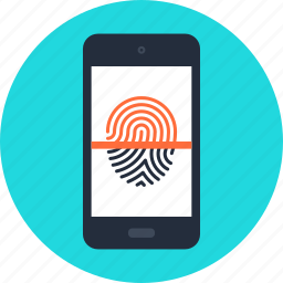 fingerprint, identification, identity, mobile, phone, protection, security icon