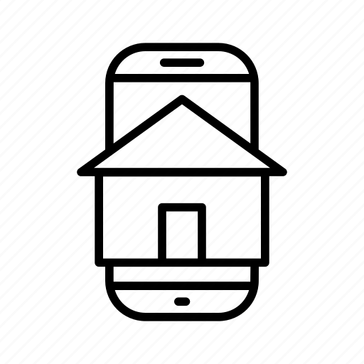 application, building, door, home, house, mobile, smartphone icon