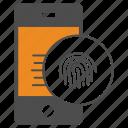 fingerprint, iphone, mobile, phone icon