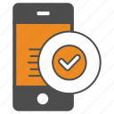 mobile, smartphone, ok, approved, check icon