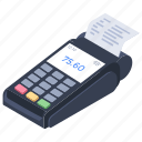bill machine, cash register, invoice machine, invoice teller, printing machine icon