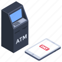 atm machine, automated teller machine, cash dispenser, cashpoint, money transaction icon