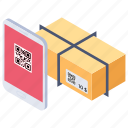 barcode reader, courier delivery, order tracking, package delivery, parcel scanning icon