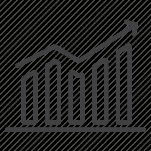 business, chart, mobile, upward icon