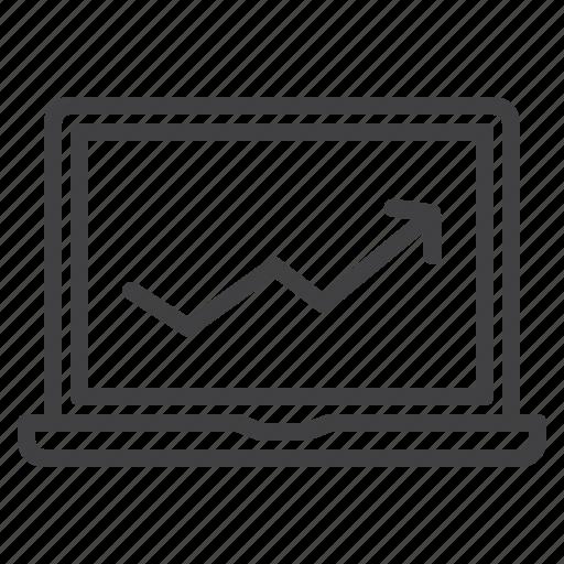 business, chart, laptop, mobile, upward icon