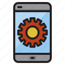 gear, hardware, mobile, service, technology icon
