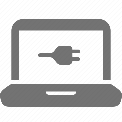 charge, device, energy, laptop, plug, power, screen icon
