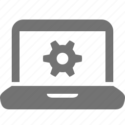 cog, device, gear, laptop, mobile, options, settings, system icon