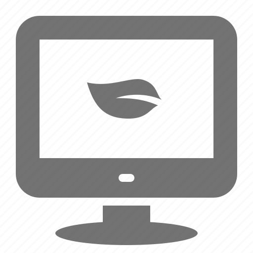 computer, desktop, ecology, efficient, energy, leaf, screen icon