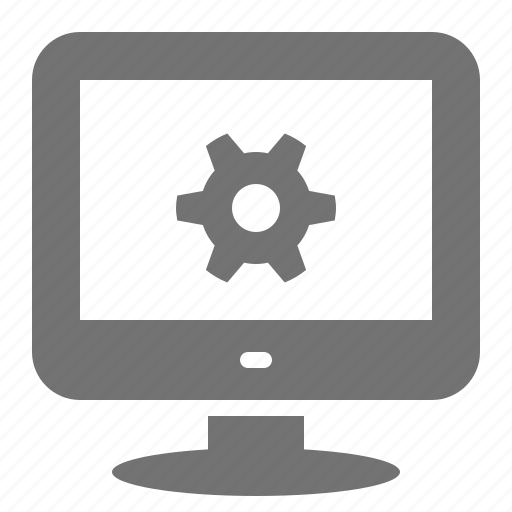 cog, computer, desktop, gear, options, screen, settings, system icon