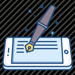 artical, blog, concept, fountain, mobile, pen, write icon