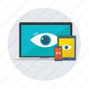 computer, devices, eye, ipad, iphone, laptop, responsive icon