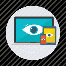 computer, devices, eye, ipad, iphone, laptop, responsive icon
