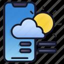 lineal, mobile, weather, application, widget, cloud