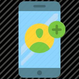 add, app, mobile, phone, profile, smartphone, user icon