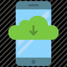app, cloud, download, mobile, phone, smartphone, storage icon