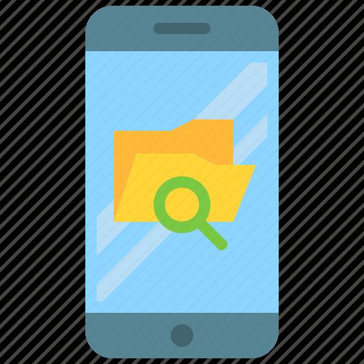 app, explorer, file, folder, mobile, search, smartphone icon