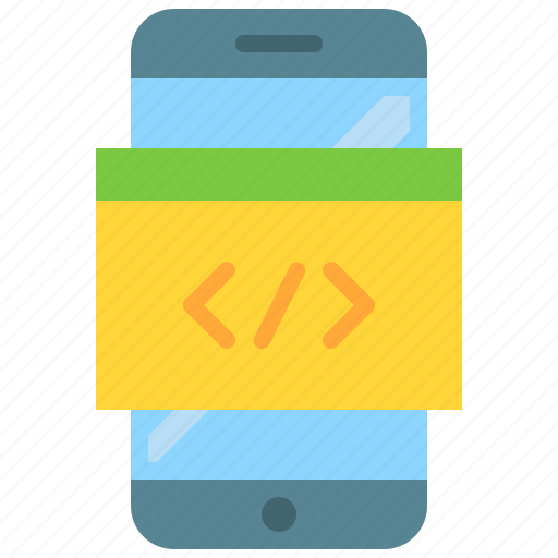 code, coding, css, html, javascript, mobile icon
