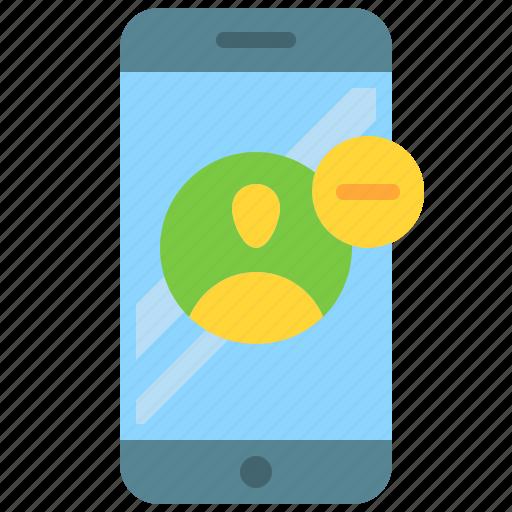 app, delete, mobile, profile, remove, smartphone, user icon