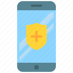 app, mobile, phone, security, shield, smartphone icon