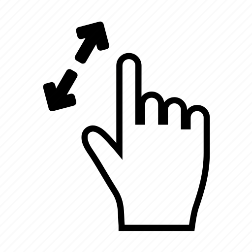 arrows, enlarge, fingers, gesture, grow, hand, stretch icon