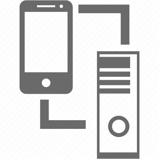 connection, data, mobile, pair, server, smartphone icon