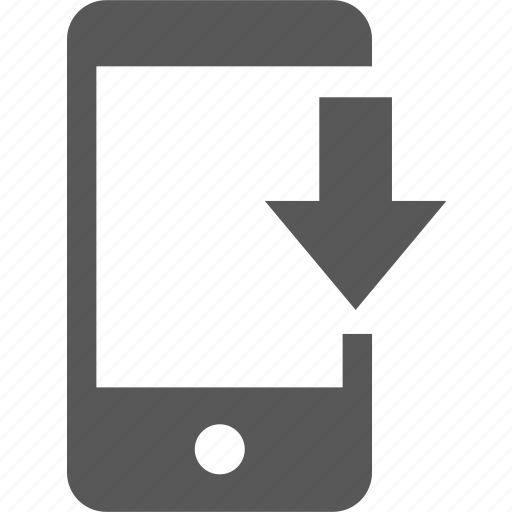 arrow, device, direction, down, download, guardar, mobile, save icon