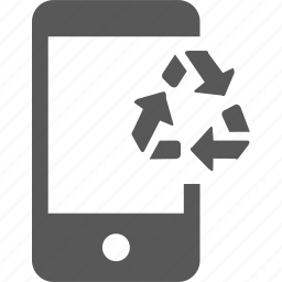 bin, cycle, device, mobile, recycle, reuse icon
