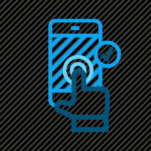 accept, click, confirm, enter, phone, press icon