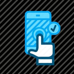 accept, confirm, enter, phone, press, press button, touchscreen icon