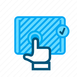 accept, confirm, enter, press, tablet, îpad icon