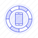 color, media, mobile, phone, smartphone, wheel icon