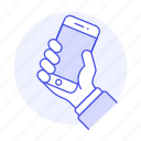 front, grab, hand, hold, interactions, mobile, phone, smartphone icon