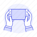 front, hand, hold, horizontal, interactions, mobile, phone, smartphone icon