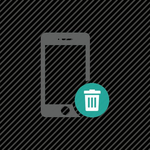delete, iphone, mobile, phone, remove, trash, trash bin icon