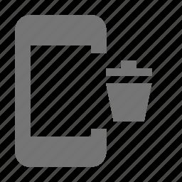 bin, phone, smartphone, telephone, trash icon