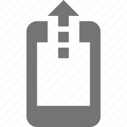 arrow, phone, smartphone, telephone, up, upload icon