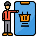 customer, online, payment, shopping, smartphone icon