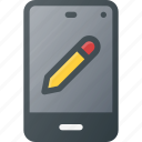 edit, mobile, pen, phone, smart, smartphone icon