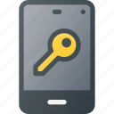 key, lock, mobile, phone, smart, smartphone icon