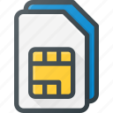 card, dual, mobile, sim icon