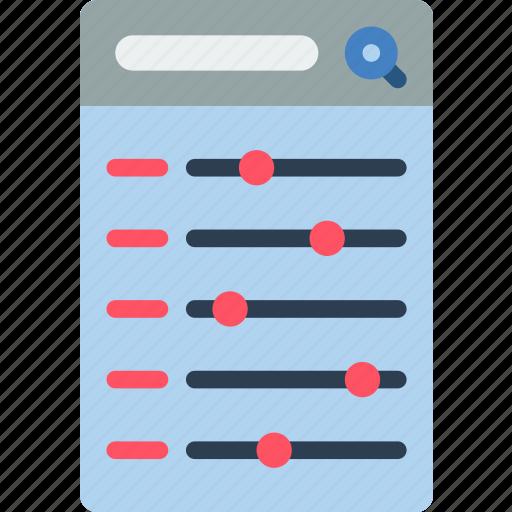 experience, menu, mobile, slider, smartphone, user, ux icon