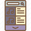 experience, mobile, music, playlist, smartphone, user, ux icon
