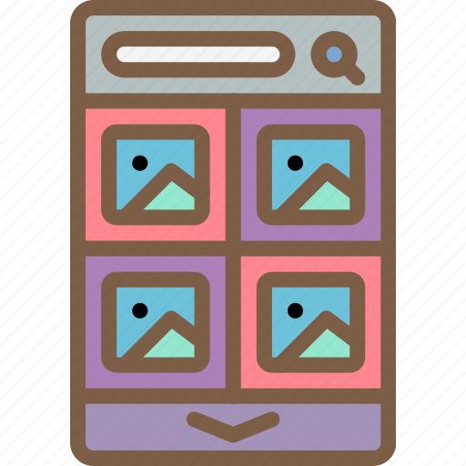 experience, grid, mobile, smartphone, thumbnail, user, ux icon