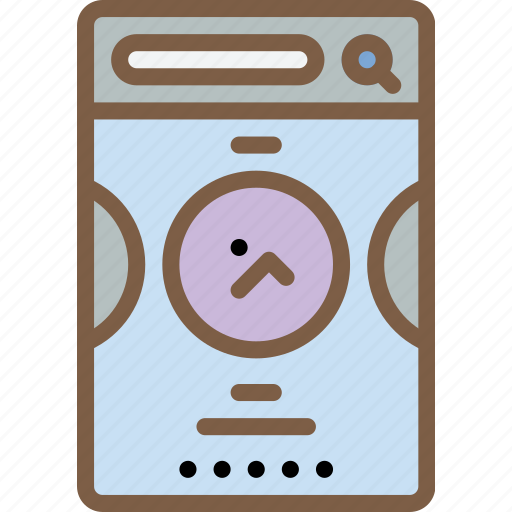 experience, image, mobile, round, slider, smartphone, user, ux icon