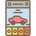 app, car, experience, mobile, smartphone, user, ux icon