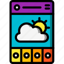app, experience, mobile, smartphone, user, ux, weather icon