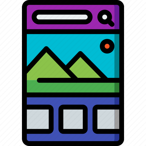 experience, mobile, slideshow, smartphone, user, ux icon