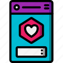 app, experience, heart, mobile, rate, smartphone, user, ux icon