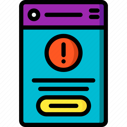 alert, experience, mobile, smartphone, user, ux icon